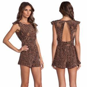 Backless friends+lovers leopard romper